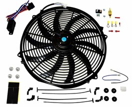 "16"" Electric Fan 3000 CFM Wiring Install Kit Complete Thermostat 50AMP Relay"