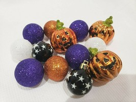 "(13) Halloween Mini Pumpkin Ball Glitter Ornaments 1.5"" Decorations Decor - $23.99"