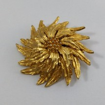 Gold Tone Flower Brooch Vintage  image 2