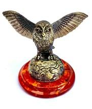 Bronze brass amber figurine OWL decorative Russian statuette Baltic ambe... - $33.32