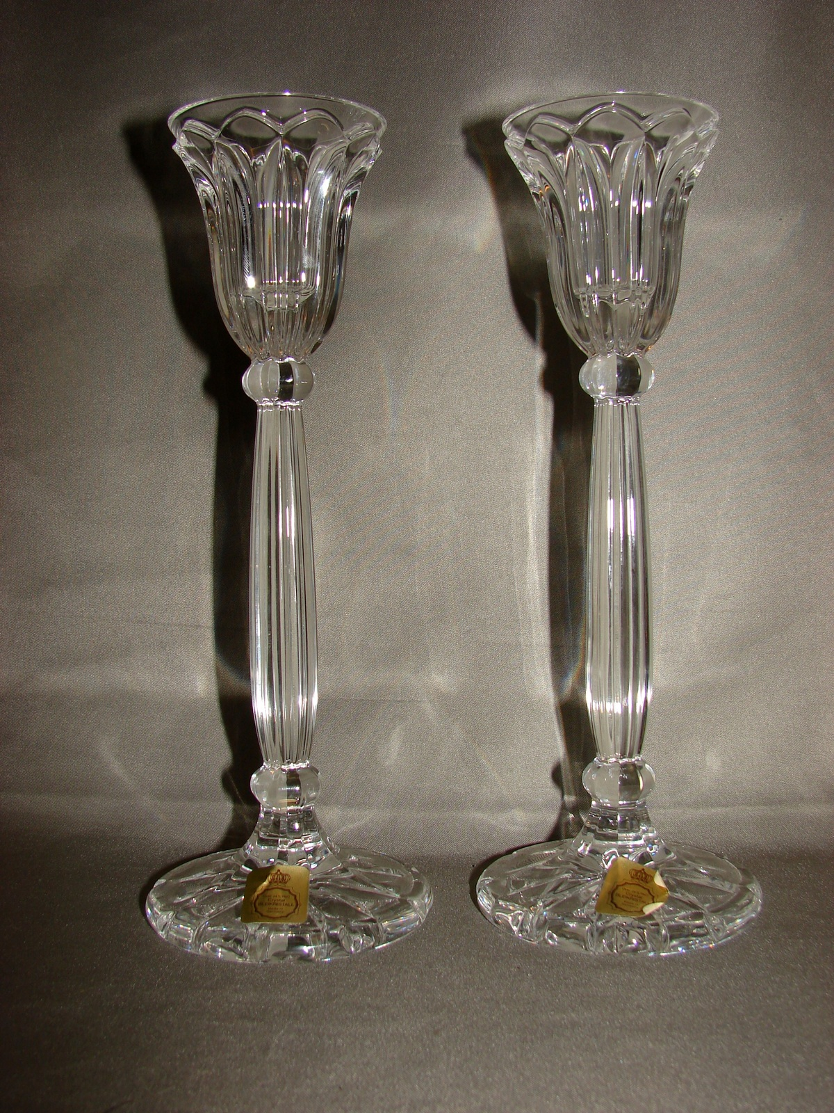 Primary image for Pair of Bleikristall Lead Crystal Tall Taper Candle Holders ~ Germany