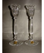 Pair of Bleikristall Lead Crystal Tall Taper Candle Holders ~ Germany - $11.99