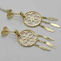 18K YELLOW GOLD DREAMCATCHER PENDANT EARRINGS, FEATHER, MADE IN ITALY, 32 MM image 4