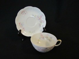 Haviland Limoges France Coffee Cup & Saucer Blue Flowers with Pink & Gold - $8.54