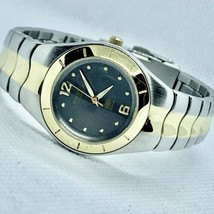 Fossil Blue AM-3398 Two Tone Gold Silver Tone Grey Dial 29mm Women's Watch Nice! - $28.93