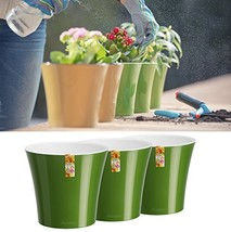 Santino Self Watering Planters Arte 5.3 Inch Green-Gold/White Flower Pot... - €15,43 EUR