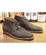 Handmade Men Dark Gray Suede Chukka Boots, Men Casual Suede leather ankl... - $169.99
