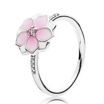 925 Sterling Silver Magnolia Bloom, Pale Cerise Enamel & Pink CZ For Women  - $21.99