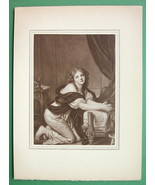 LOVELY MADIEN Morning Prayer - Antique Print by GREUZE - $10.12