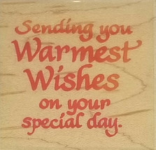 Stampendous Warmest Wishes Sentiment Rubber Stamp