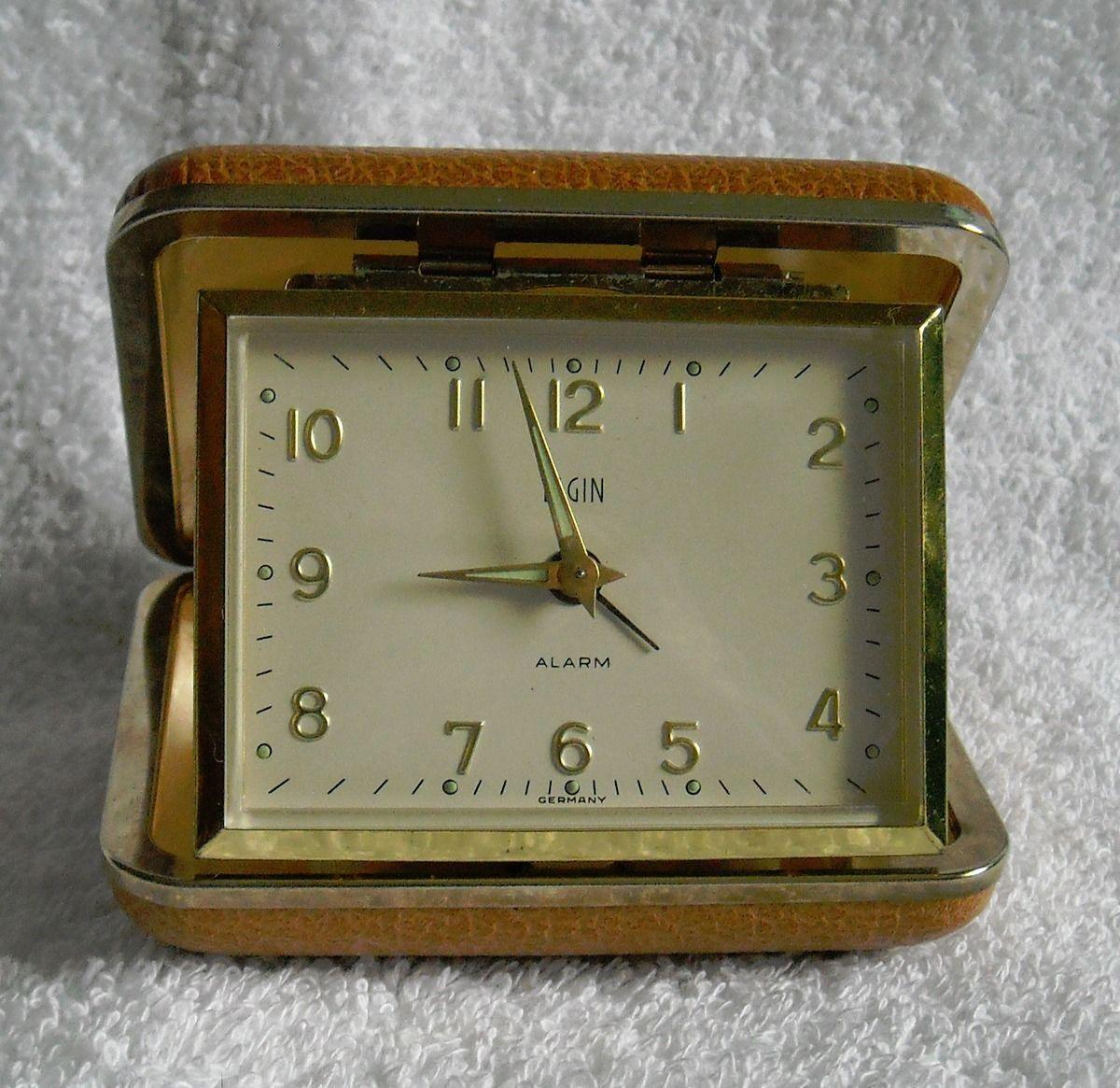 Vintage Elgin Wind Up Travel Alarm Clock Tan And 10 Similar Items