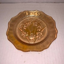 "Vintage Jeanette Glass Iridescent Marigold Iris & Herringbone Saucer 5 3/4"" - $6.00"