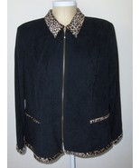 Jessica Howard Woman Blazer Black Zip Front Jacket Size 22 Polyester & S... - $24.99