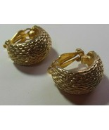 Vintage Signed Erwin Pear Gold-tone Half Hoop Clip-on Earrings - $29.99