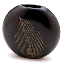 Decorative Vases, Black Vases For Home Decor - Leaf Design, Carved Wood - $23.93