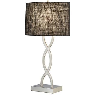 Adesso Lamps Juliette 28-1/2 in Satin Steel Table Lamp with Black Shade