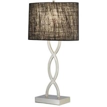 Adesso Lamps Juliette 28-1/2 in Satin Steel Table Lamp with Black Shade - $89.05