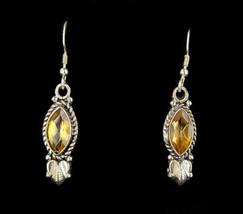 """Vintage Sterling Marquise Orange Citrine Drop Dangle Earrings 2"""" - $80.99"""