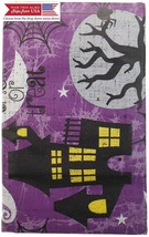 Purple Haunted Halloween Scenes Vinyl Tablecloth with Spiders Witches, M... - $27.05