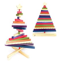Striped Rotating Wooden Christmas Tree Ornament Decoration Craft Block T... - €20,20 EUR