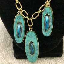 VINCE CAMUTO BLUE CRYSTAL/TURQUOISE STONE NECKLACE!**GORGEOUS!**NEW!**1 ... - $64.99