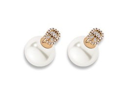 "AUTH Christian Dior 2017 ""DIOR TRIBALES"" EARRINGS CRYSTAL PEARL AGED GOLDTONE"