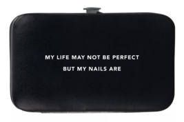 Trim Black Pink Nail Mani Emergency Grooming Kit Clippers Scissor Tweezer File image 3