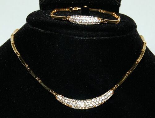 BVT NKBR Necklace Bracelet Set Color Gold Clear Rhinestone
