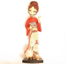 "VINTAGE JAPANESE DOLL LADY WALKING HER SPITZ DOG POMERANIAN ? 13""*MOUNTE... - $24.70"