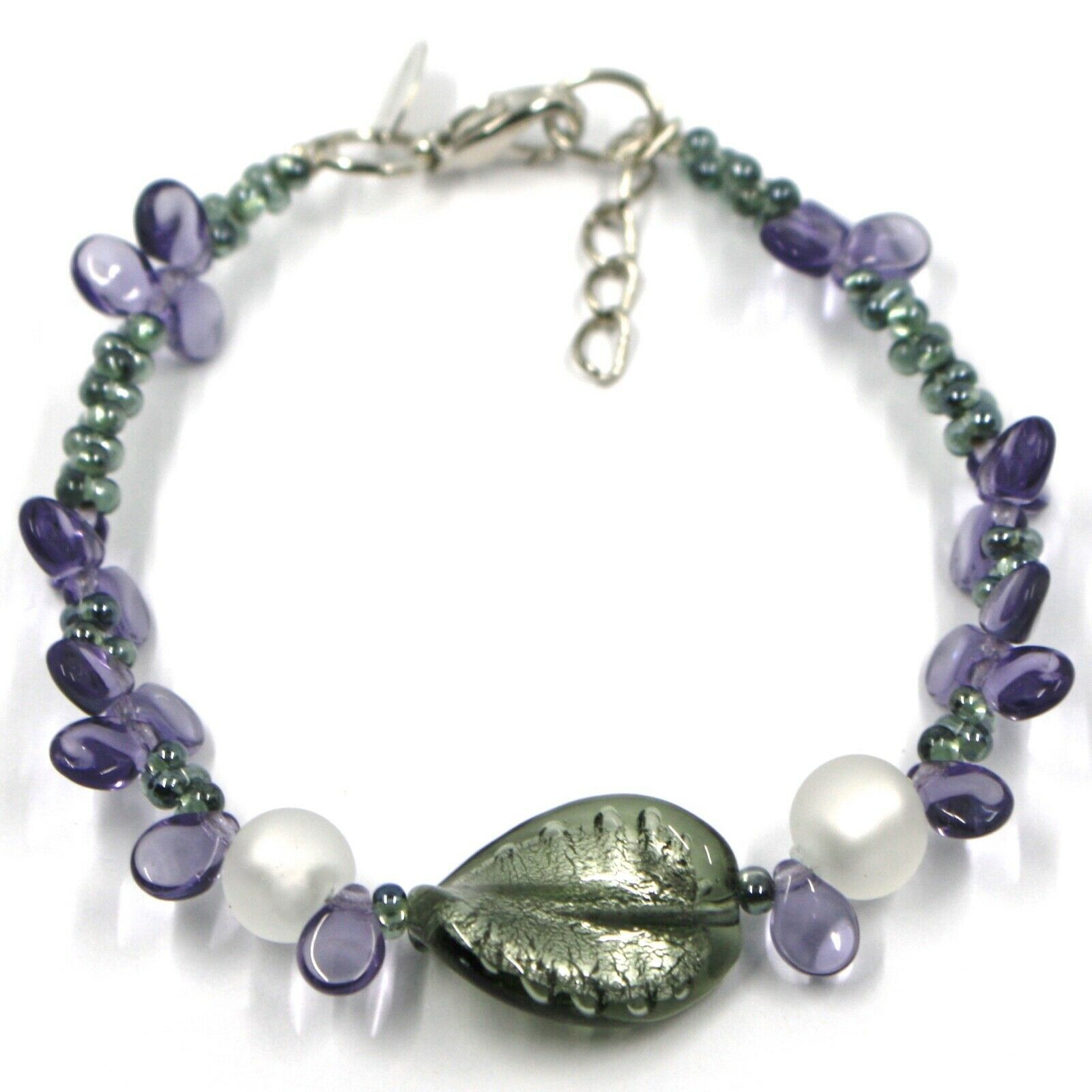 BRACELET PURPLE PETALS DROPS, SATIN SILVER SPHERE SPIRAL WAVE MURANO GLASS ITALY