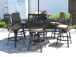 "Outdoor bar set 7 piece cast aluminum furniture Grand Tuscany 60"" round table image 1"