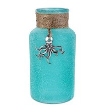 "6"" Glass Decorative Bottle with Pewter Octopus Nautical Beach Decor"