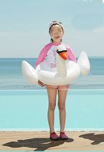Swim About Children Kids Swan Swim Ring Tube Inflatable Ride On Pool Raft Floats image 5