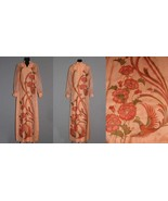 GORGEOUS Vtg Shaheen Printed Floral Birds Long Dress Sheer Sleeves Wm 14... - $139.99