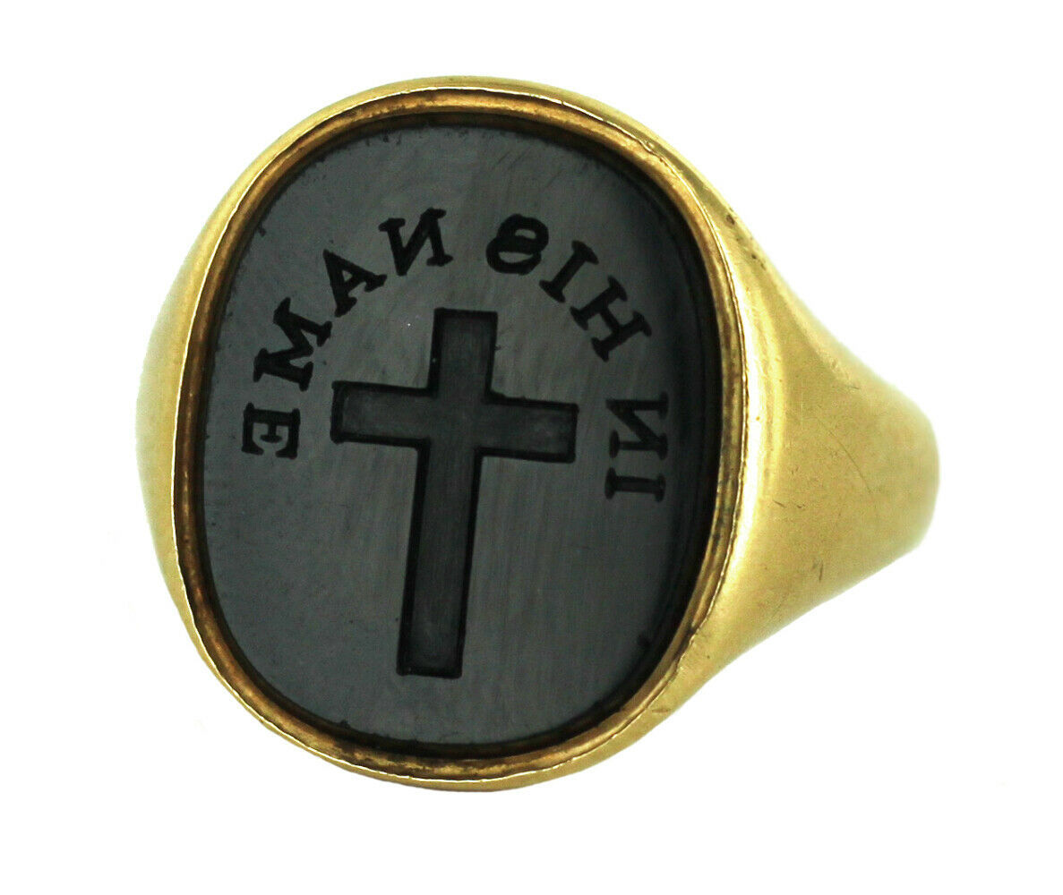 Antique Tiffany Co 22k Gold In His Name Cross Onyx Signet Seal Victorian Ring - $10,800.00