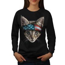 Cat USA Jumper Flag Head Animal Women Sweatshirt - $18.99