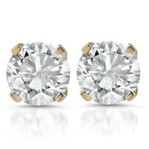 1ct Diamond Studs 14K Yellow Gold Finish 925 Pure Sterling Silver - $39.99