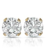 1ct Diamond Studs 14K Yellow Gold Finish 925 Pure Sterling Silver - £30.00 GBP