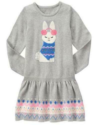 Gymboree 4 5 6 7 Bunny Sweater Dress Snowflake Fun Gray Fair Isle NWT Easter