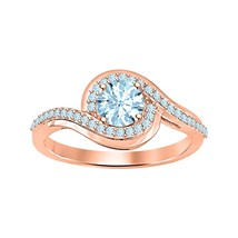 Round Cut Aquamarine 14k Rose Gold Over 925 Silver Wedding Women Ring   - $67.99