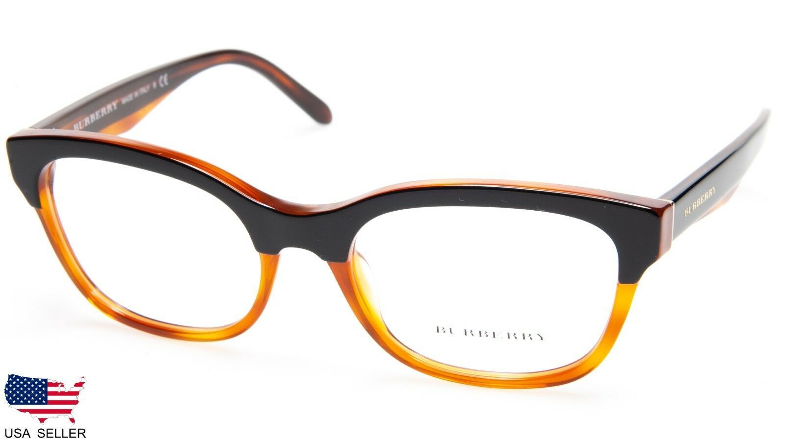 Primary image for NEW BURBERRY B 2257 3650 TOP BLACK On AMBER EYEGLASSES FRAME 53-18-140 B38 Italy