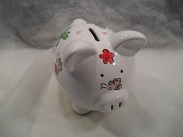 PERSONALIZED (ANNA) PIGGY BANK WITH DECORATED BODY w/FLOWERS & BUTTERFLIES - $8.91
