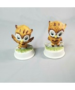 "Ceramic Owl Pair 2 Piece Set UCGC Taiwan Vintage 3"" Figurines Brown & White - $14.98"