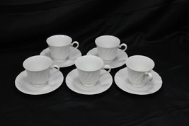 Sheffield Bone White Cups and Saucers 5 each - $35.27