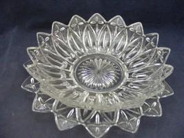 "Elegant Starburst 10.5"" Serving Bowl + Underplate Indiana Federal Glass - $29.95"