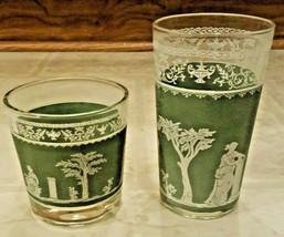 Vintage Mid-Cent Modern Jeannette Glass Hellenic Green Greek Jasperware Tumbler - $23.00