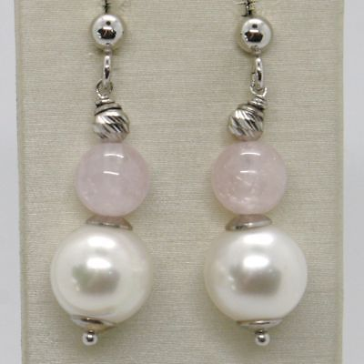 EARRINGS SILVER 925 RHODIUM PLATED WITH AQUAMARINE PINK NATURAL AND PEARLS WHITE