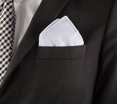 """Classic Mens Handkerchiefs 100% Cotton Solid White with Stripe 17"""" Large 12pc image 7"""