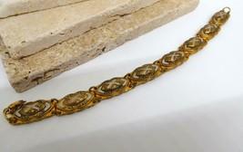 Vintage Marked Spain Gold Tone Black White Damascene Link Bracelet AA20 image 2
