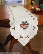 Christmas Decor Holly & Ornaments Linen Table Runner Scalloped Edges Hol... - $12.30